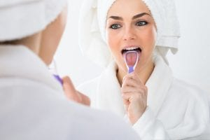 tongue scraping for bad breath