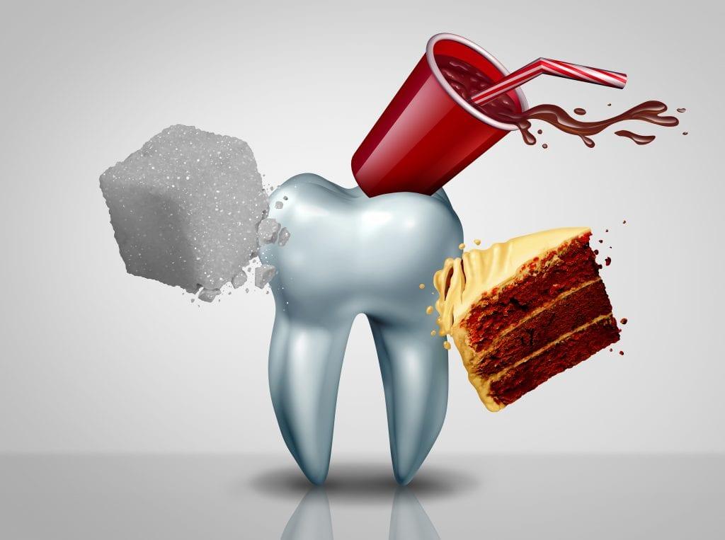 sugar damages teeth